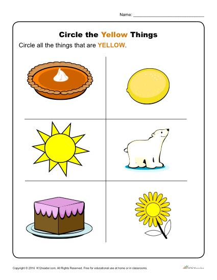 Circle The Yellow Things on Kindergarten Worksheets Color Yellow