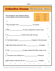 Collective Noun Worksheets | Fill in the Blank