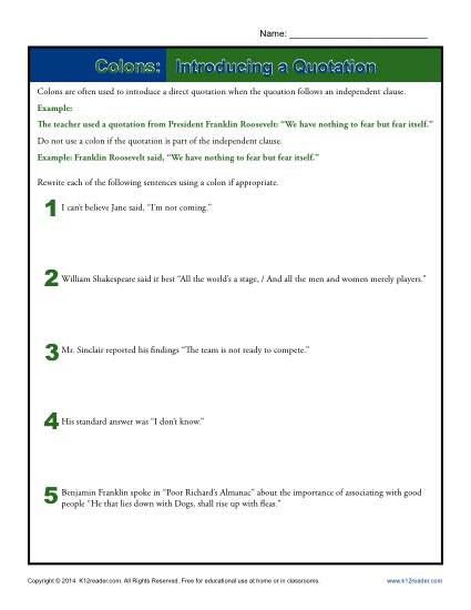 Introducing a Quotation with Colons: Worksheet Practice Activity