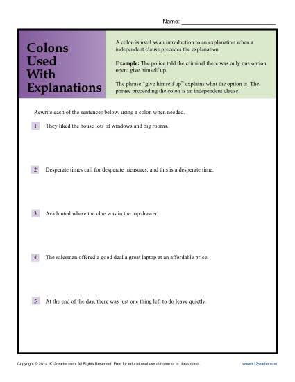 Colon Punctuation Worksheet - Colons Used with Explanations