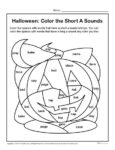Color the Halloween Short A Sounds - Printable Activity Worksheet