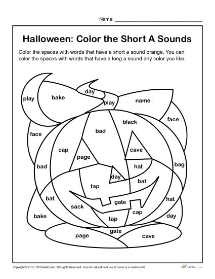 halloween worksheets coloring pages | Color the Halloween Words | Short 'A' Sounds Halloween ...