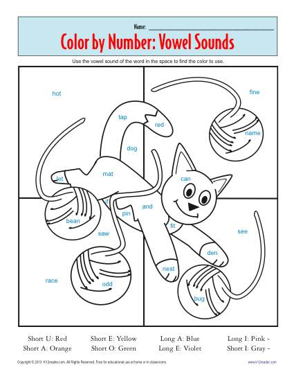Vowel Coloring Page - Printable Worksheet Practice Activity