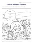 Color the Halloween Adjectives | Coloring Sheets