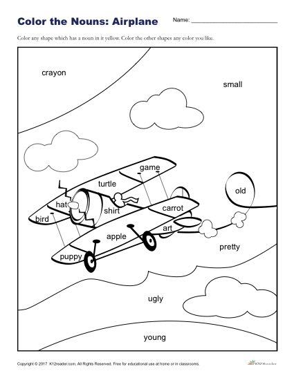Color the Nouns: Fun Airplane Coloring Sheet for Kids