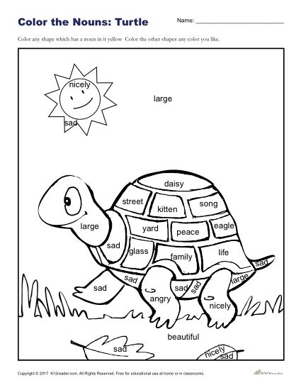Color the Nouns: Fun Turtle Coloring Sheet for Kids