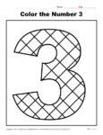 Color the Number 3   Preschool Number Worksheet