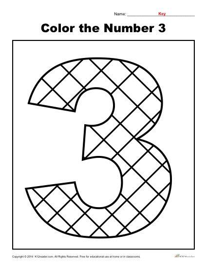 Color the Number 3 | Preschool Number Worksheet