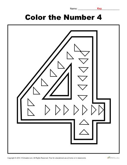 Color the Number 4 | Preschool Number Worksheet