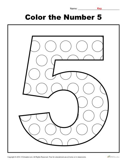 Color the Number 5 | Preschool Number Worksheet