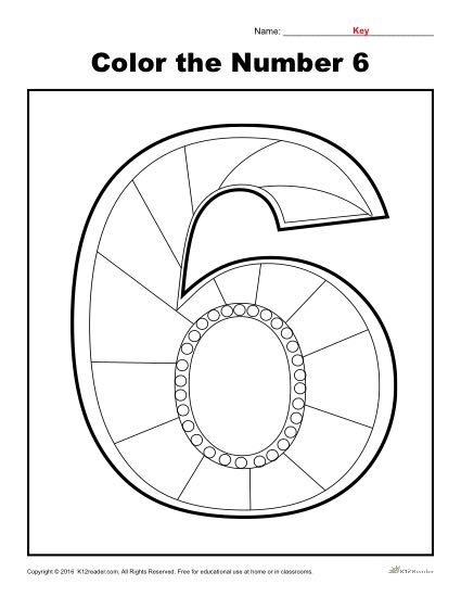 Color the Number 6 | Preschool Number Worksheet