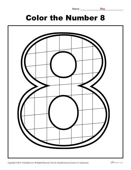 Color the Number 8 | Preschool Number Worksheet