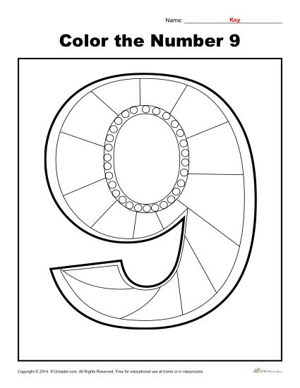 Color the Number 9 | Preschool Number Worksheet