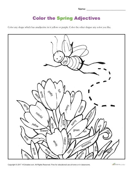 Color the Spring Adjectives | Coloring Sheets