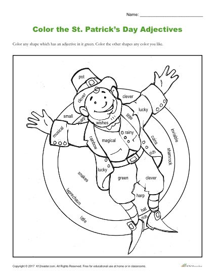 Color the St. Patrick's Day Adjectives   Coloring Sheets