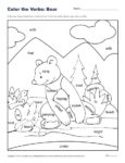 Color the Verbs: Fun Bear Coloring Sheet for Kids