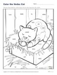 Color the Verbs: Fun Cat Coloring Sheet for Kids