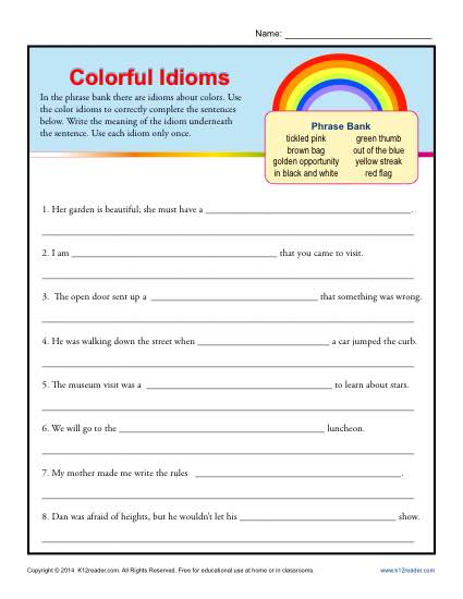 Colorful Idioms - Worksheet Practice Activity
