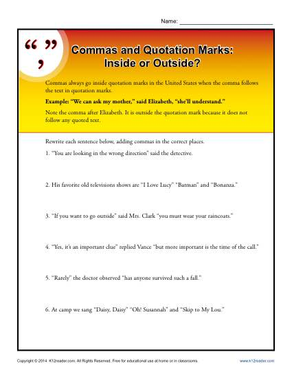 Commas and Quotations Marks Worksheet Practice Activty