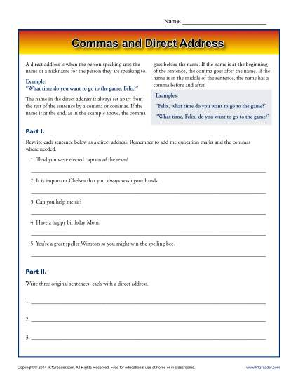 Commas and Direct Address - Printable Worksheet Activity