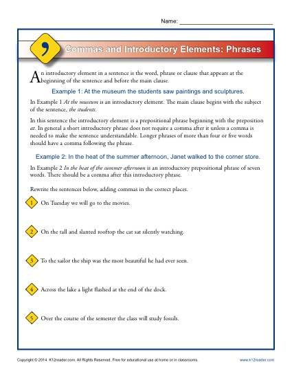 Commas and Introductory Elements - Phrases Worksheet Activity