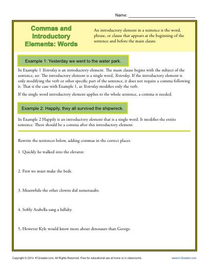Commas And Introductory Elements Words Punctuation Worksheets