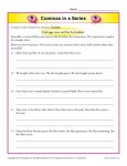 Commas in a Series - Printable Worksheet Lesson Activity
