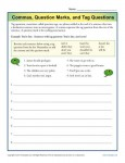 Commas, Question Marks and Tag Questions - Printable Worksheet Lesson Activity