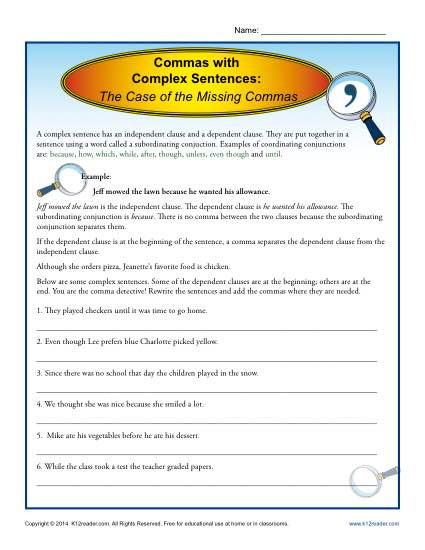 Commas with Complex Sentences | Comma Worksheets