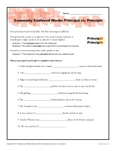 Principal vs Principle - Commonly Confused Words Practice Worksheet