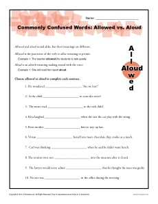 Allowed vs Aloud - Commonly Confused Words Practice Activity