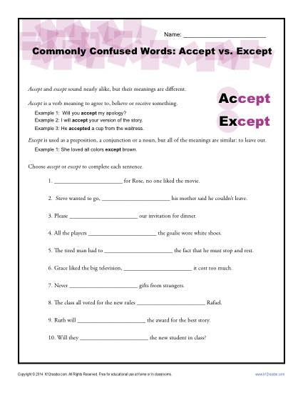 Accept Vs Except Worksheet Easily Confused Words