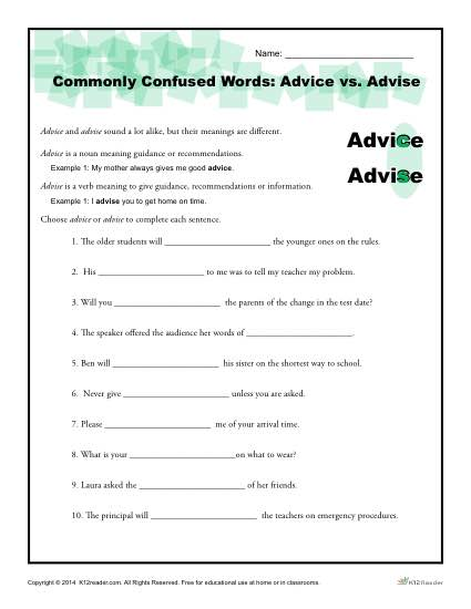 Commonly Confused Words - Advice vs Advise