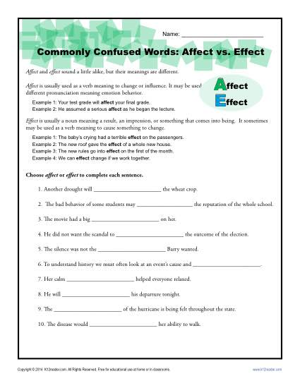 Affect vs Effect - Commonly Confused Words Practice Activity