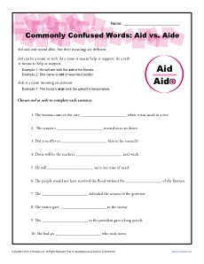 Aid vs. Aide - Commonly Confused Words Worksheet