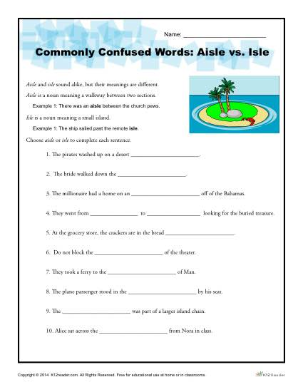 Commonly Confused Words - Aisle vs Isle