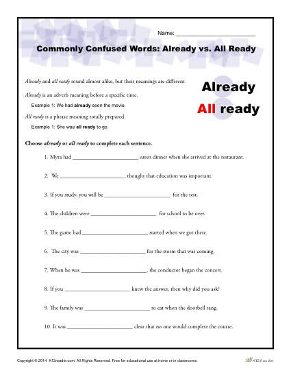 Commonly Confused Words - Already vs All Ready