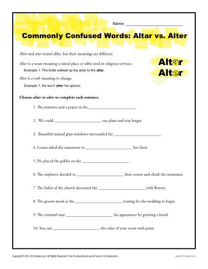 Altar vs. Alter - Commonly Confused Words Practice Worksheet