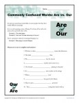 Are vs. Our - Commonly Confused Words Worksheet Activity