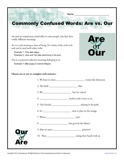 Are vs. Our Worksheet | Easily Confused Words