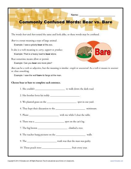 Bear vs. Bare - Commonly Confused Words Worksheet Activity