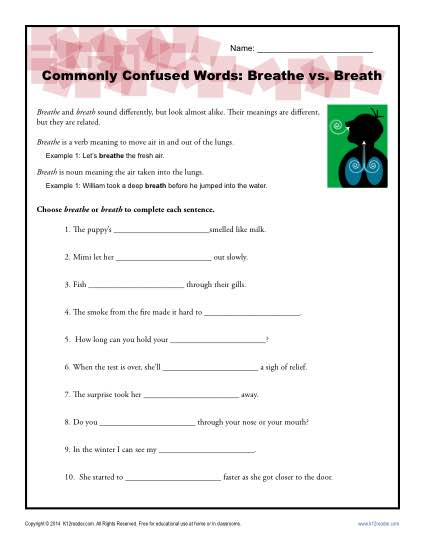 Breathe vs. Breath - Commonly Confused Words Worksheet Activity