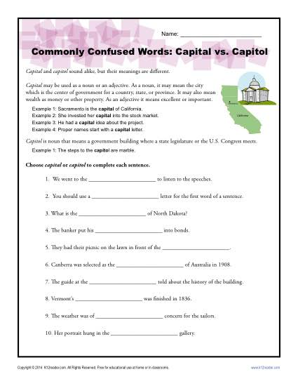 Capital vs Capitol - Commonly Confused Words Practice Activity