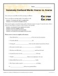 Course vs Coarse - Commonly Confused Words Practice Activity