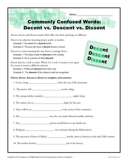 Decent Descent vs. Dissent - Commonly Confused Words Practice Worksheet