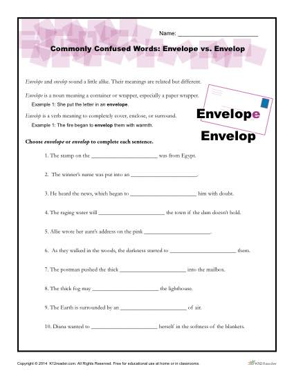 Commonly Confused Words Worksheet Activity - Envelope vs Envelop