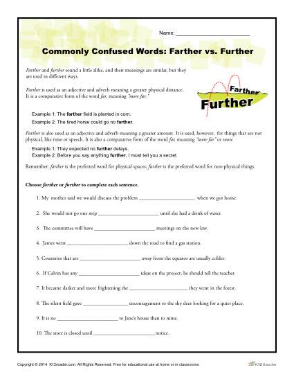 Commonly Confused Words Worksheet Activity - Farther vs Further