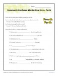 Fourth vs. Forth - Commonly Confused Words Practice Worksheet
