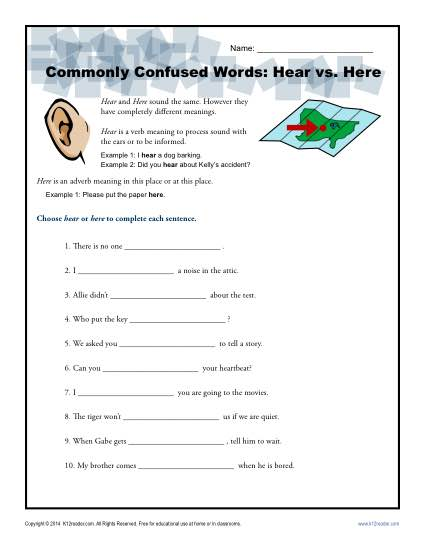 Hear vs. Here - Commonly Confused Words Worksheet Activity