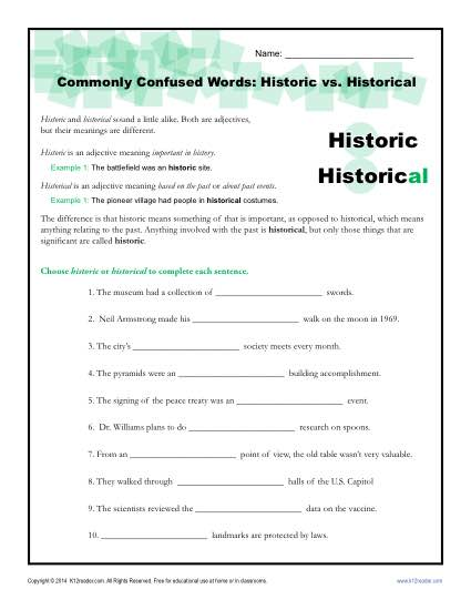 Commonly Confused Words Worksheet Activity - Historic vs Historical